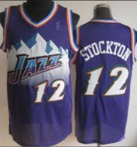 low priced a153b c5712 Retro Utah Jazz John Stockton #12 Purple Throwback Mens LARGE Basketball  Jersey
