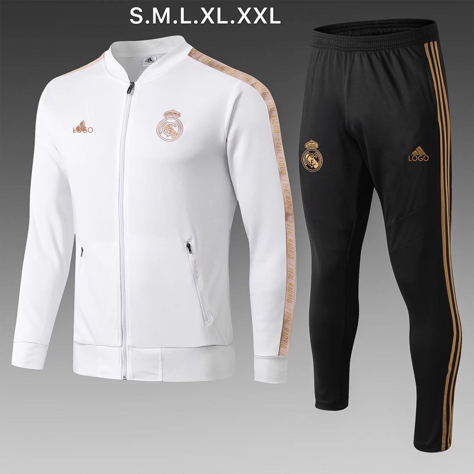 best website ad959 cba23 2019/20 men real madrid jacket white longsleeve soccer tracksuit