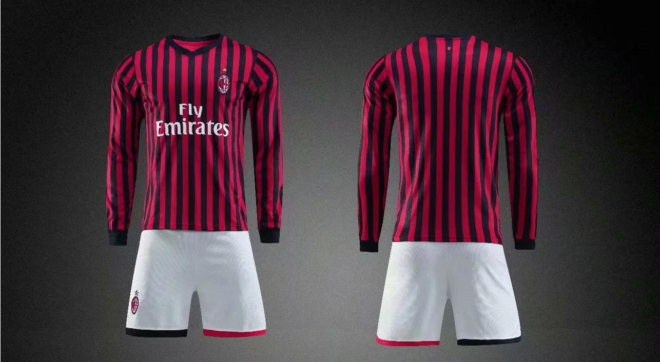 free shipping c7bb7 f8368 19/20 AAA Quality wihout logo men AC Milan long sleeve soccer/football  uniforms/kits
