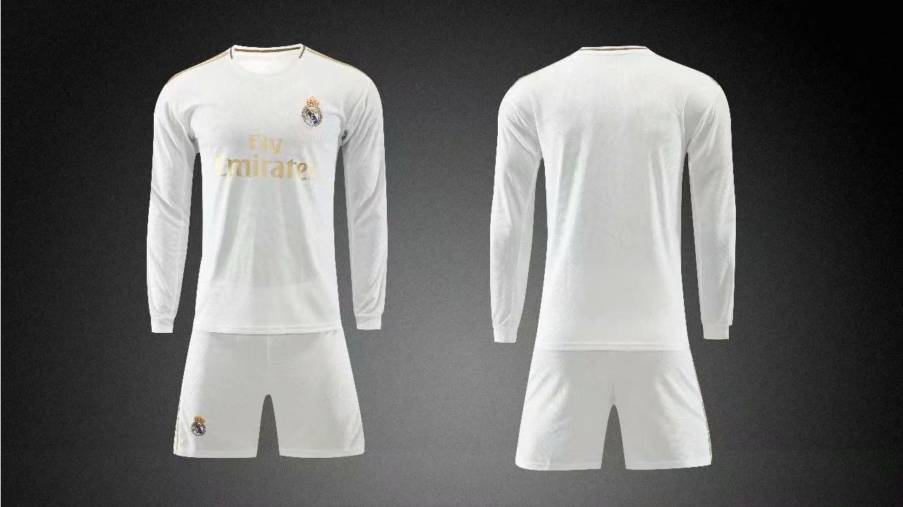 sale retailer e4b8c 6efcd 2019/20 AAA Quality wihout logo Adult real madrid long sleeve  soccer/football uniforms/kits