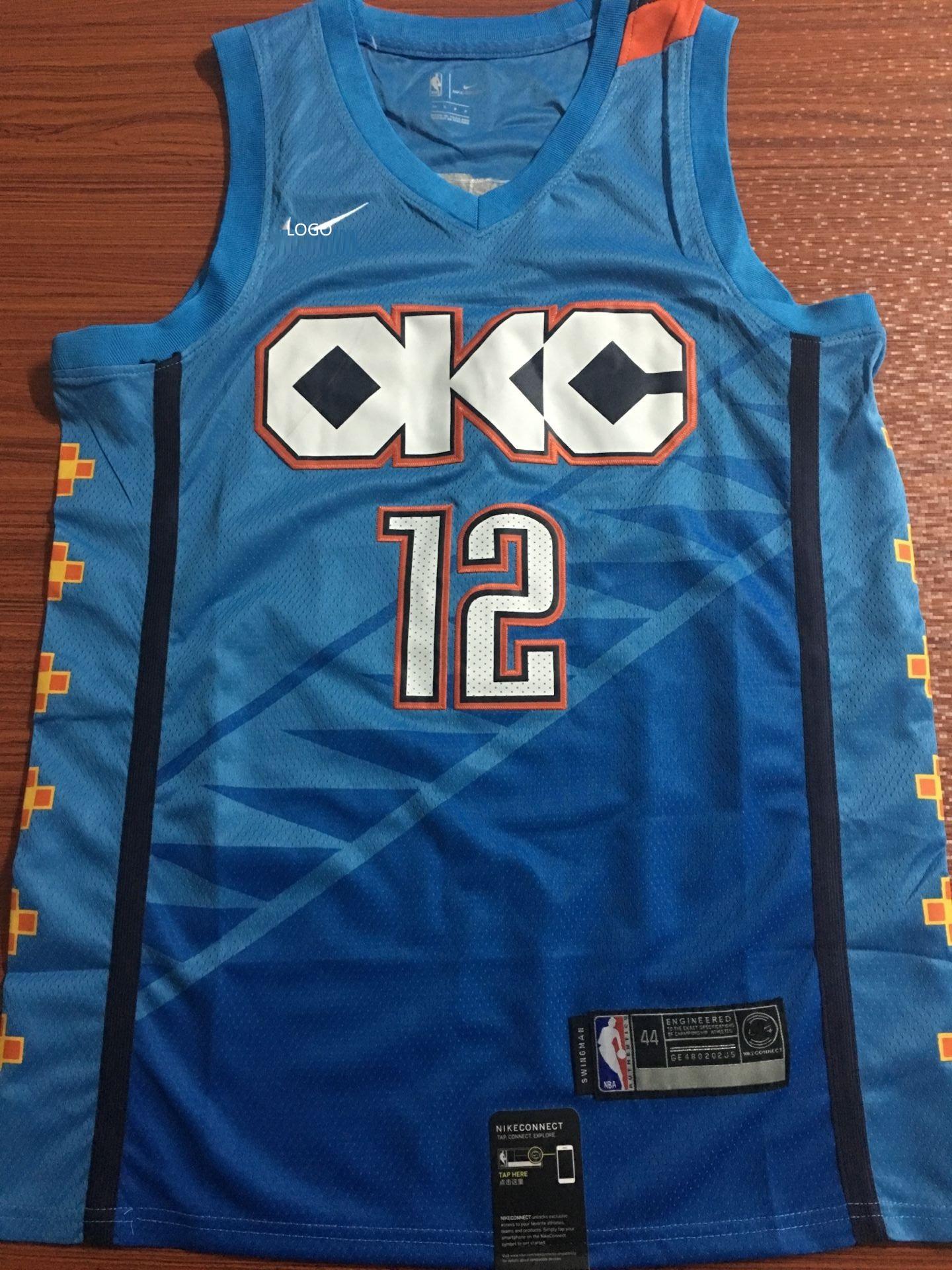 more photos e6369 4a9b8 2019/20 men Oklahoma City Thunder ADAMS 12 blue basketball jersey