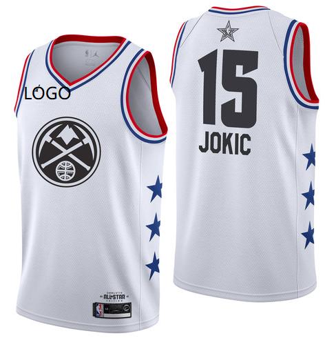 innovative design 4fdb9 cd455 2019/20 Adult All-Star Rookie Jersey Denver Nuggets JOKIC 15 white  basketball shirt