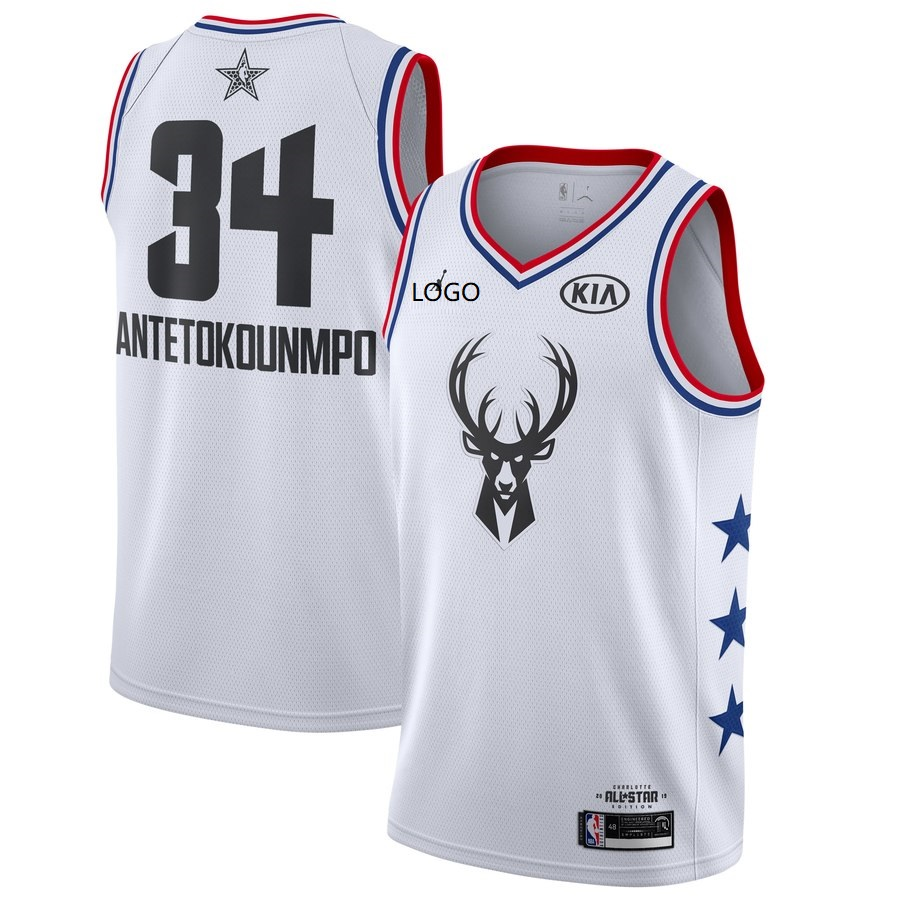 hot sale online ca39a 7c96d 19/20 men All-Star Rookie Jersey Milwaukee Bucks ANTEOKOUNMPO 34 white  basketball shirt