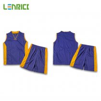 Lenrick Adult NBA Basketball Jersey Uniform Purple Youth Basketball Tracksuit Sets Shirt+Short