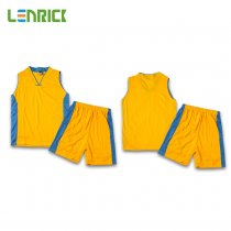 Lenrick Kids Basketball Jersey Yellow Uniform Kits Sport Tracksuit
