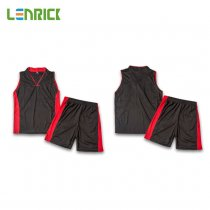 Lenrick Adult NBA Basketball Jersey Uniform Dark Orange Youth Basketball Tracksuit Sets Shirt+Short