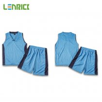 Lenrick Adult NBA Basketball Jersey Uniform Sky Blue Youth Basketball Tracksuit Sets Shirt+Short