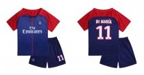 17-18 Kids Cheap PSG Home Soccer Jersey Uniform Di Maria 11 Children  Cheapest Football Kits Complete Uniform Shirt +Short