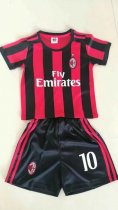 17/18 Kids AC Milan Home Soccer Jersey Uniform Child Cheap Football Jersey Uniform Honda 10