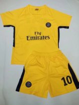 17-18 Cheap Kids PSG Yellow Home Away Soccer Jersey Uniform NEYMAR JR 10 Children Complete Football Kits Shirt+short