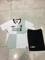 2017/18  Children White Liverpool Away Football Jesey Kit Kids Sport Jersey Soccer Uniform