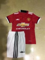 17-18 Cheap Children Manchester United Home Red Soccer Jersey Uniform Kids Football Jersey Set