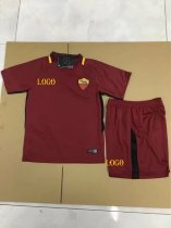 17/18 Kids Roma Home Soccer Kits Children Red Team Football Uniform Wholesale