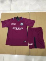17/18 Kids Manchester City Away Purple Soccer Jersey Uniforms Children uniformes de futbol soccer