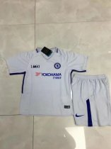 17/18 Cheap Kids Chelsea Away White Soccer Jersey Blue Uniform Child Football Team Kits