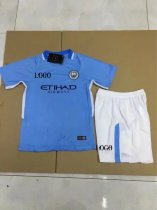 17-18 Cheap Children Manchester City Home Jersey Uniform Blue Kids Football Team Kits For Sale