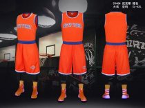 Men's  New York Knicks Orange Jersey Uniforms Adult Basketball Kits Team Sets Custom Name Number