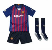 2018/19 Kids Barcelona Home Without Brand Logo Soccer Kits Children Football Uniform