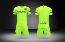2018/19 Kids Barcelona Away Green Without Brand Logo Soccer Kits Children Football Uniform