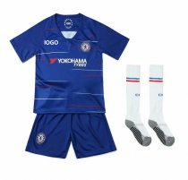 2018/19  Kids Chelsea With Logo Soccer Uniforms Children Football Kits