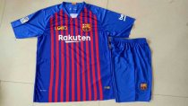 2018/19 Kids Barcelona Home Blue  With Brand Logo Soccer Kits Children Football Uniform