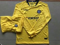 18/19 Adult Chelsea Yellow Long Sleeve Soccer Jerseys Winter Sport Training Football Uniforms
