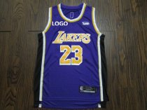 Men Laker Lebron James 23 Purple Jersey Basketball Shirt
