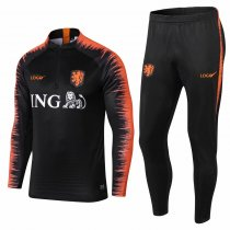 2018/2019 Men Black / Orange New Set Football Tracking Netherlands Tracksuits
