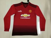 2018/2019 Man Manchester United Home Long Sleeve Soccer Jersey Shirt