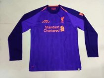 2018/2019 Men Liverpool Away Purple Long Sleeve Football Jersey Shirt