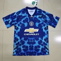 Men manchester united EA sports blue Soccer Jersey Adult Football Shirt
