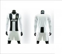 Without Logo 18/19 Juventus Home Long Sleeve Soccer Uniform Adult Football Kits