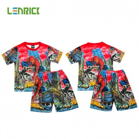 Lenrick Spiderman Boys Pajamas Set  Red  Pijamas Kids Sleepwear Cartoon T-shirts+Shorts Summer Pajamas for Kids Pyjama Boy Clothes