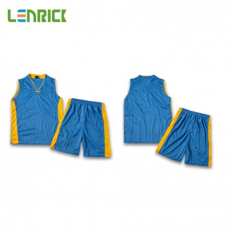 Lenrick Adult NBA Basketball Jersey Uniform Blue Youth Basketball Tracksuit Sets Shirt+Short