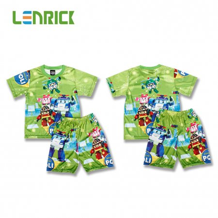 Lenrick Cars Boys Pajamas Set  Green  Pijamas Kids Sleepwear Cartoon T-shirts+Shorts Summer Pajamas for Kids Pyjama Boy Clothes