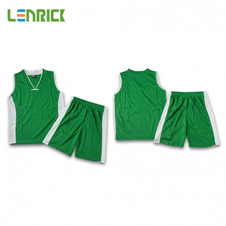 Lenrick Adult NBA Basketball Jersey Uniform Green Youth Basketball Tracksuit Sets Shirt+Short