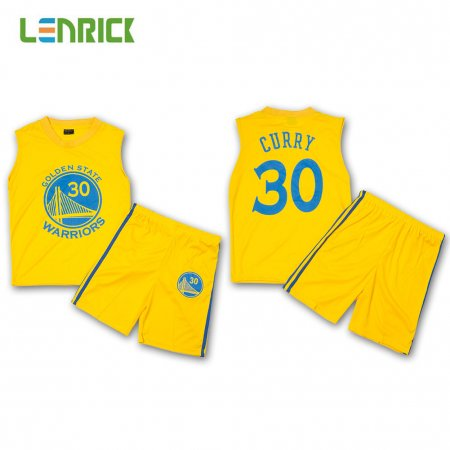 Lenrick Kid's Golden State Warriors Stephen Curry Yellow Replica Jersey Wholesale