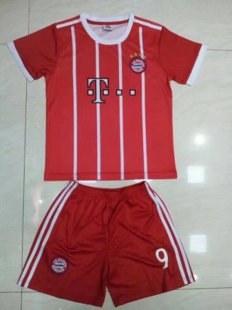 17/18 A Quality  Child Bayren Munich Home Red Jersey Uniform  lewandowski 9 Child Cheapest Football Complete Kits Shirt +Short
