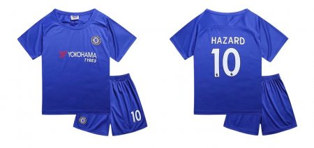 17/18 Cheap Kids Chelsea Soccer Jersey Uniform Home Blue Hazard 10 Shirt+Short Child Football Kits