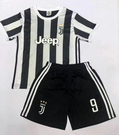 17-18 Cheap Kids Juventus Home Soccer Jersey Uniform Black Higuain 9 Children Football Jersey Kits Shirt+Short