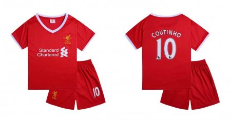 17-18 Cheap Kids Liverpool Home Soccer Jersey Uniform Coutinho 10 Children Football Jersey Kits Red Complete Shirt+short