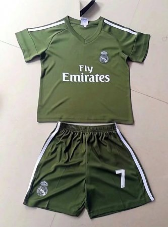 2017/2018 Kids Real Madrid Soccer Jersey Uniforms Green Ronaldo 7  Child Football Tracksuit Shirt+Short Home Away Kits