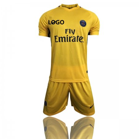 17/18 Adult PSG Away Paris Yellow Jersey Uniforms Complete Football Kits Men Sets