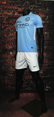 17-18 Cheap Adult Manchester City Home Jersey Uniform Blue  Man Football Team Kits For Sale Shirt+Short