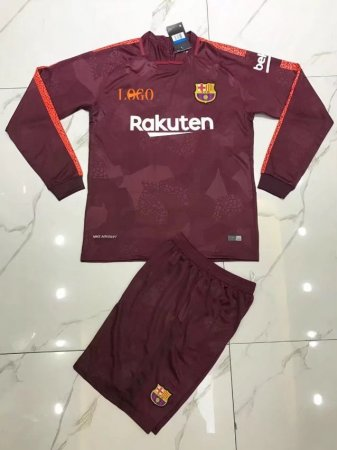 Bacelona Away Long Sleeve Jersey Uniforms