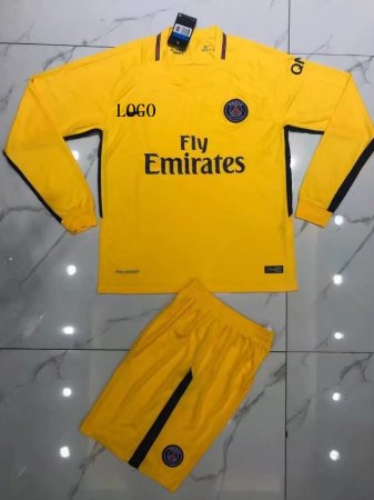 PSG Yellow Long Sleeve Jersey Uniforms
