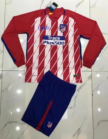 Adult Atletico Madrid Home Long Sleeve Jersey Uniforms