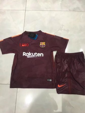 17-18  Kids Barcelona Third Away Soccer Jersey Uniform  Boy Football Sport Kits uniformes de futbol soccer