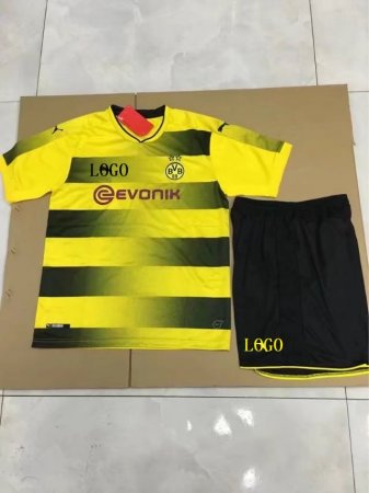 17/18 Cheap Kids  Borussia Dortmund Home Soccer Jersey Uniform Yellow Kits soccer team jerseys cheap