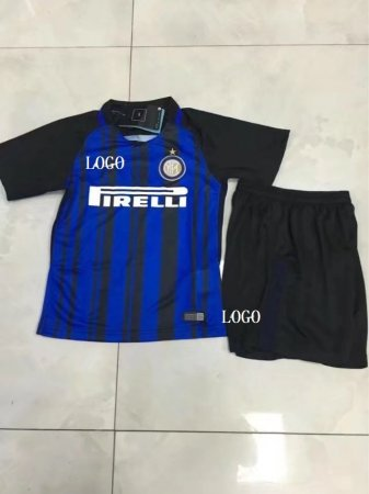 17-18 Kids Inter Milan Home Blue/Black Soccer Uniforms Children uniformes de futbol soccer Custom Name Number